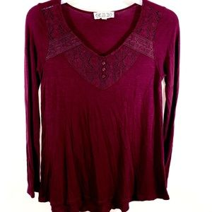 Pink Rose Womens Long Sleeve Burgundy Red Size S